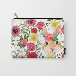 Easter rabbit with spring flowers, watercolor Carry-All Pouch