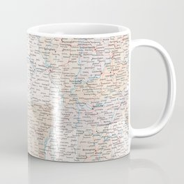 High detail map of the Usa with roads, Keane - ORDER PRINTS IN SIZE XL (small labels) Coffee Mug