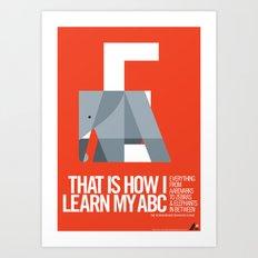 Animal Alphabet E Art Print