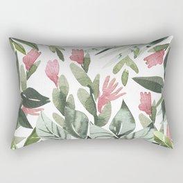 Forest green pink tropical summer watercolor floral Rectangular Pillow
