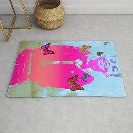 vintage pop art culture cloud and butterfly blend kid portrait  Rug