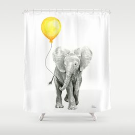 Elephant Watercolor Yellow Balloon Whimsical Baby Animals Shower Curtain