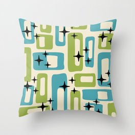 Retro Mid Century Modern Abstract Pattern 225 Blue and Green Throw Pillow
