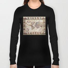 1652 Map of the World, Doncker Sea Atlas World Map Long Sleeve T-shirt