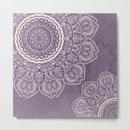 Mandala Tulips in Lavender ad Cream Metal Print