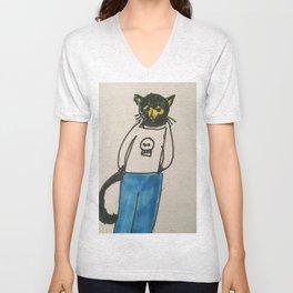 Goth Kitty  Unisex V-Neck