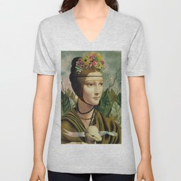 F.K.'s Self Portrait & Leonardo's Lady with a Ermine Unisex V-Neck