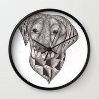 labrador Wall Clocks featuring Chocolate Labrador by Lyn Symon AKA Dream Doodles