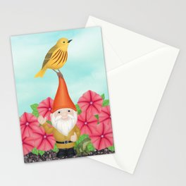 gnome with yellow warbler and petunias Stationery Cards