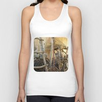 bicycles Tank Tops featuring Brooms and Bicycles  by Ethna Gillespie