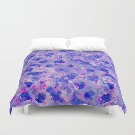 Hand painted navy blue pink watercolor floral pattern Duvet Cover