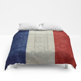 French Flag with vintage textures Comforters