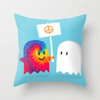 hippie Throw Pillows featuring Hippie ghost by Picomodi