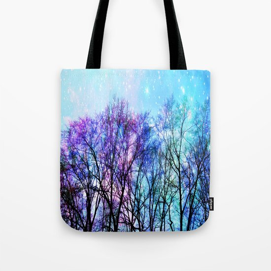 Black Trees Playful Pastels Space Tote Bag