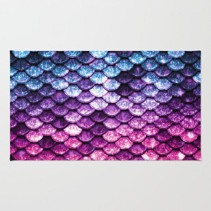 Mermaid Tail Pink Purple Blue Rug