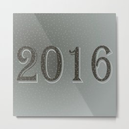 New year 2016 in grey  Metal Print
