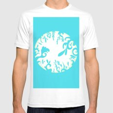 Abstractly Blue  MEDIUM White Mens Fitted Tee