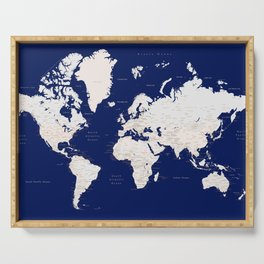 """Navy blue and light brown detailed world map """"Gavin"""" Serving Tray"""
