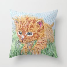 Kitten in grass Throw Pillow