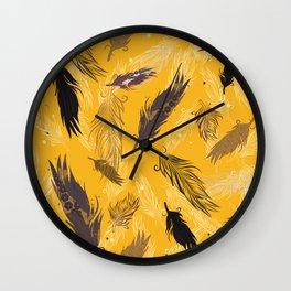 fall feathers Wall Clock