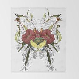 Birds in flowers Throw Blanket