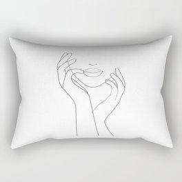 Thinking of Him .Hands On Face, Minimalist Woman Rectangular Pillow