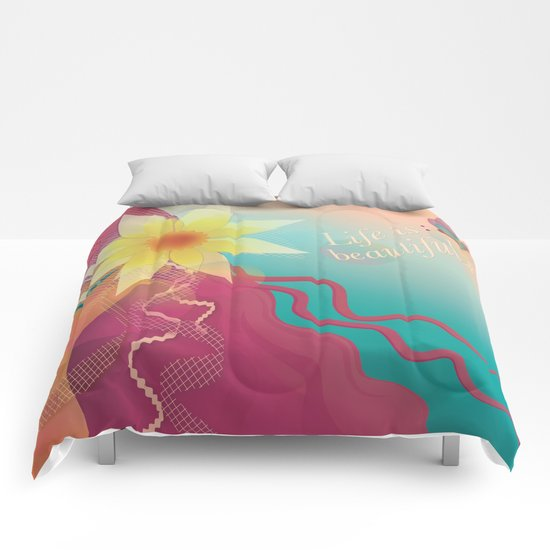 Girl with Pink Hair Comforters