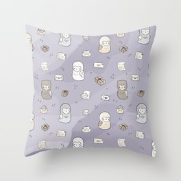 Owl Post Pattern - Lavender Watercolor Throw Pillow