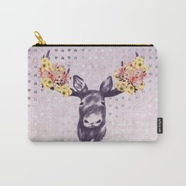 Flower Blossom Antlers Moose Head Carry-All Pouch