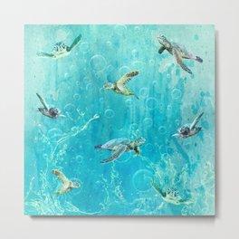 Swimming Turtles Metal Print