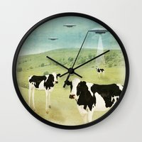 vegetarian Wall Clocks featuring we all like burgers _ US AND THEM  by Vin Zzep