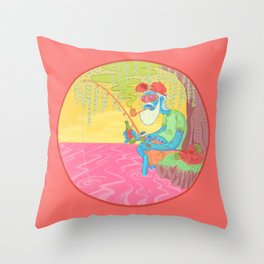 fisherman by the river Throw Pillow