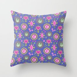 Brooches on blue Throw Pillow