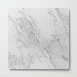 Marble Love Silver Metallic Metal Print