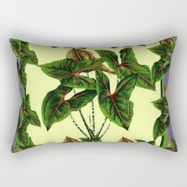 Decorative Lilac & Cream Tropical Botanical Green Foliage Rectangular Pillow