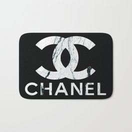 Couture Fashion Designer Inspired Marble Typography Bath Mat