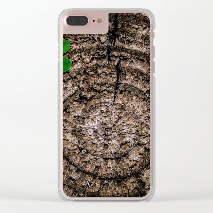 Green leaf Brown wood Clear iPhone Case