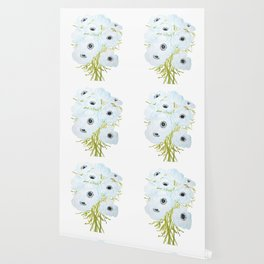blue amone flowers watercolor painting  Wallpaper