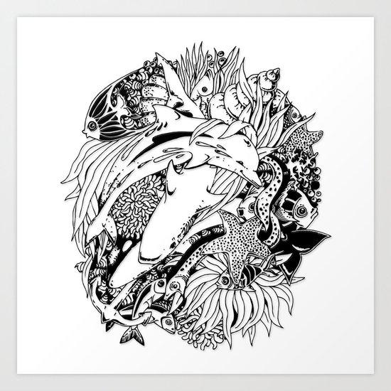 Sea Animals Surreal Doodle Art Art Print