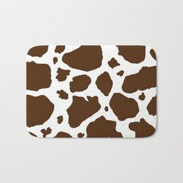 cow spots animal print dark chocolate brown white Bath Mat