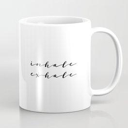Yoga Print Relax Print Inhale Exhale Just Breathe Meditation Art Yoga Quotes Yoga Art Inspirational Coffee Mug