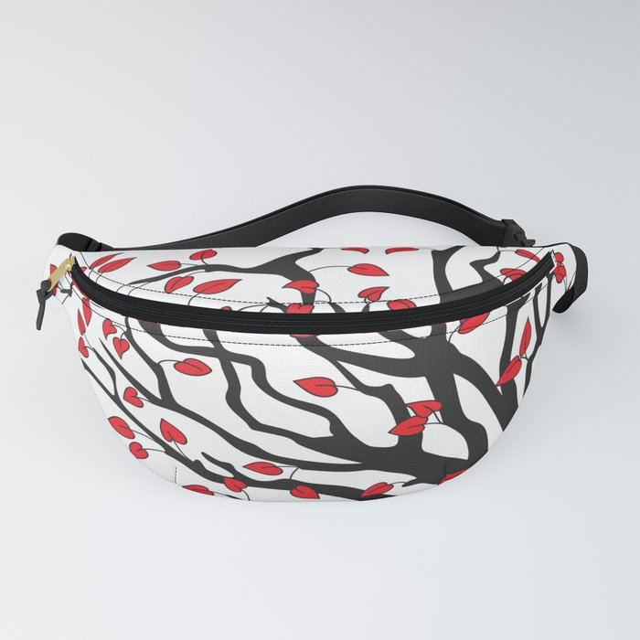black tree with red leaves Fanny Pack