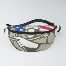 Mechanic Holding Tire Wrench USA Flag Shield Retro Fanny Pack