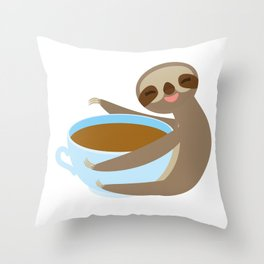 sloth & coffee 2 Throw Pillow