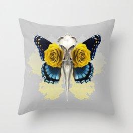 Bird skull and yellow roses Throw Pillow