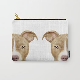 Pitbull light brown Dog illustration original painting print Carry-All Pouch