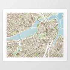 Boston Sepia Watercolor Map Art Print