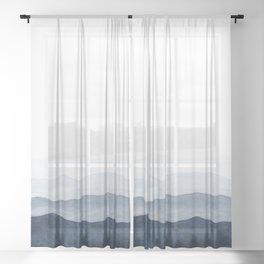 Indigo Abstract Watercolor Mountains Sheer Curtain