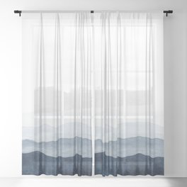 Indigo Abstract Watercolor Mountains Sheer Curtain