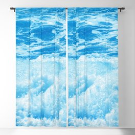 Aquamarine Ocean Waves With White Surf Blackout Curtain